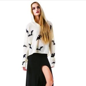 Wildfox White Label Bats Hoooded Billy Sweater